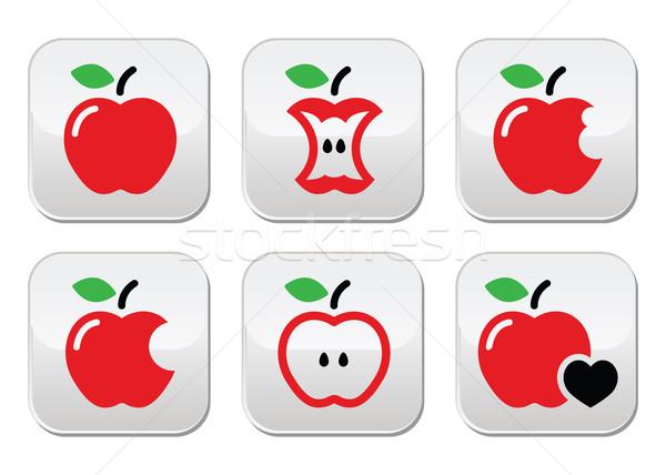 Red apple, apple core, bitten, half vector buttons Stock photo © RedKoala