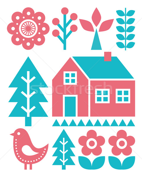 Finnish inspired folk art pattern - Scandinavian, Nordic style in turquoise and raspberry colour Stock photo © RedKoala