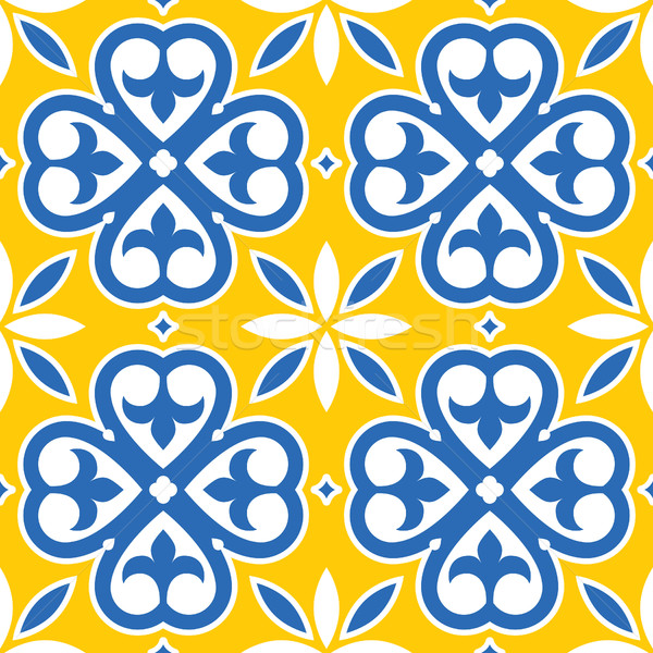 Spanish tiles pattern, Moroccan and Portuguese tile seamless design in navy blue and yellow   Stock photo © RedKoala