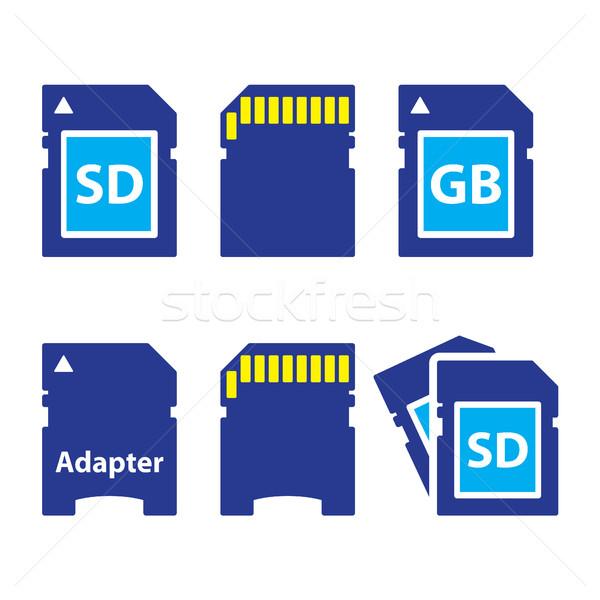 Emlék kártya ikon szett vektoros ikonok szett modern Stock fotó © RedKoala