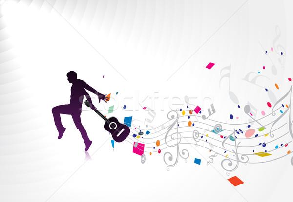 Musique hommes jouer guitare silhouette couleur Photo stock © redshinestudio