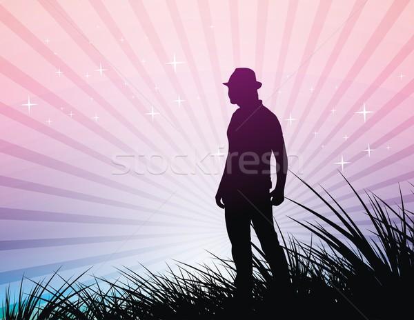 Coucher du soleil jeunes Cowboy lumineuses coloré ciel Photo stock © redshinestudio