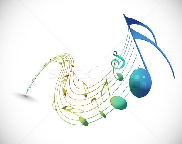 Muziek merkt ontwerp concert behang geluid golven Stockfoto © redshinestudio