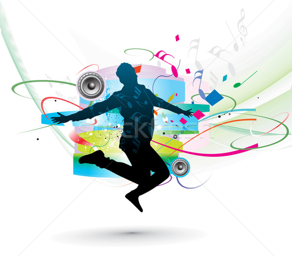silhouette of man dancer posing Stock photo © redshinestudio
