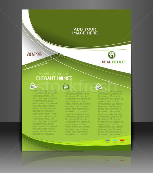 Agente immobiliare flyer poster modello design business Foto d'archivio © redshinestudio