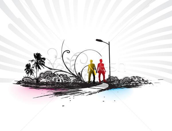 Гранж городского город шаблон музыку фон Сток-фото © redshinestudio