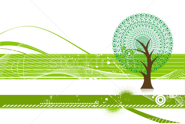 緑 エコ ツリー 抽象的な 波 行 ストックフォト © redshinestudio