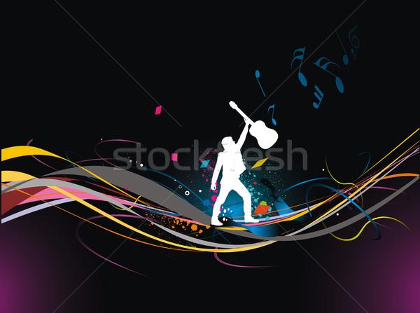 音楽 男性 再生 ギター シルエット 色 ストックフォト © redshinestudio