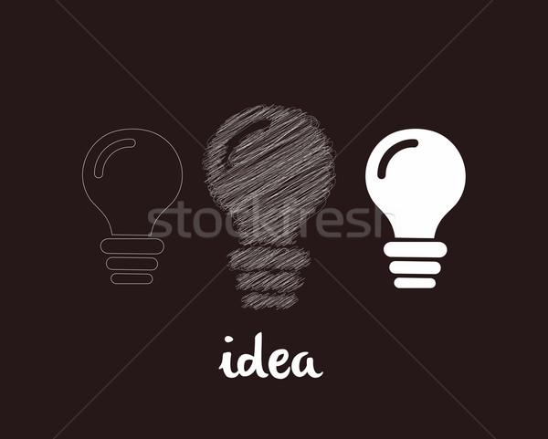 Fikir web simgesi ışık imzalamak bar Stok fotoğraf © redshinestudio