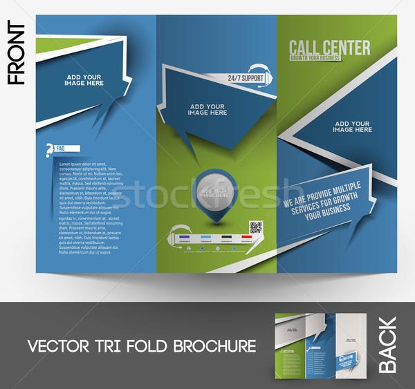 Call Center Broschüre Design-Vorlage Büro Telefon abstrakten Stock foto © redshinestudio