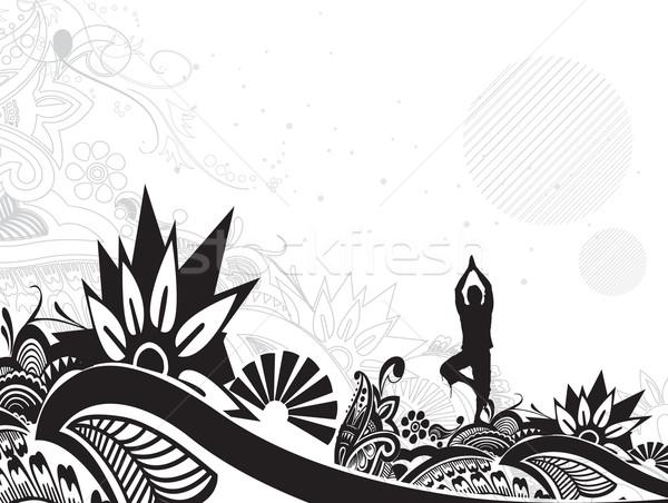yoga illustration Stock photo © redshinestudio