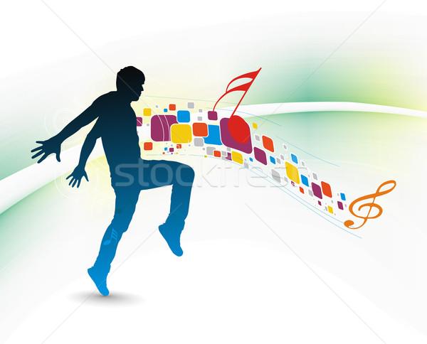 音楽 若い男 楽しむ モザイク 男 抽象的な ストックフォト © redshinestudio