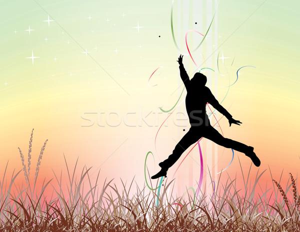 若い男 ジャンプ フィールド シルエット 要素 ストックフォト © redshinestudio