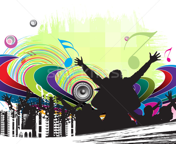 Urbaine fête silhouettes groupe danse main Photo stock © redshinestudio