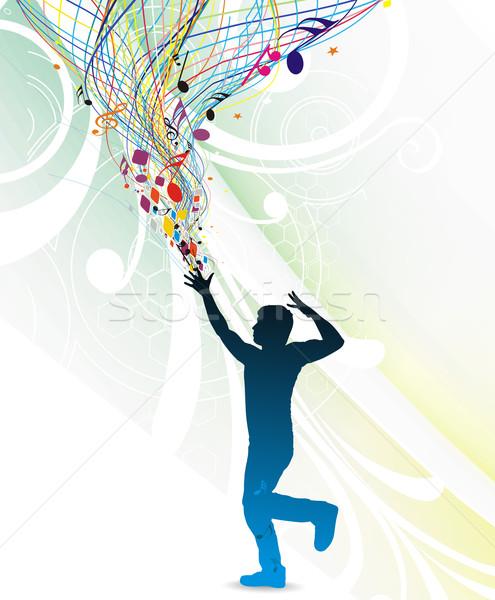 музыку молодым человеком наслаждаться цветочный волна человека Сток-фото © redshinestudio