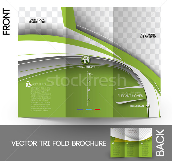 Agent immobilier brochure up design affaires bâtiment Photo stock © redshinestudio