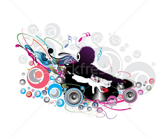 Człowiek gry streszczenie muzyki Uwaga strony Zdjęcia stock © redshinestudio