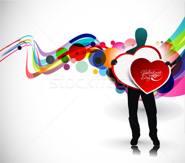 Stockfoto: Valentijnsdag · banners · man · handen · hart