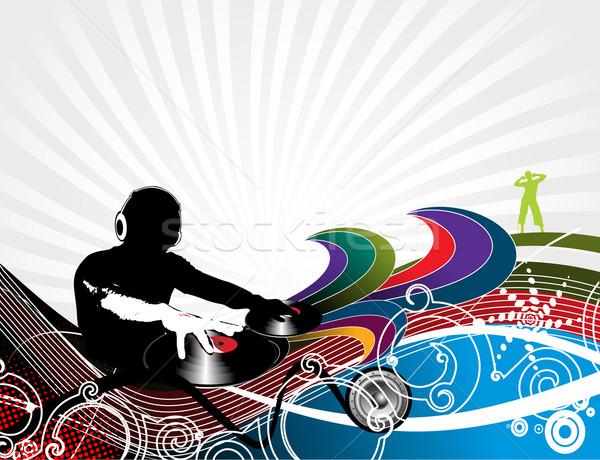 Festa abstrato homem jogar música onda Foto stock © redshinestudio