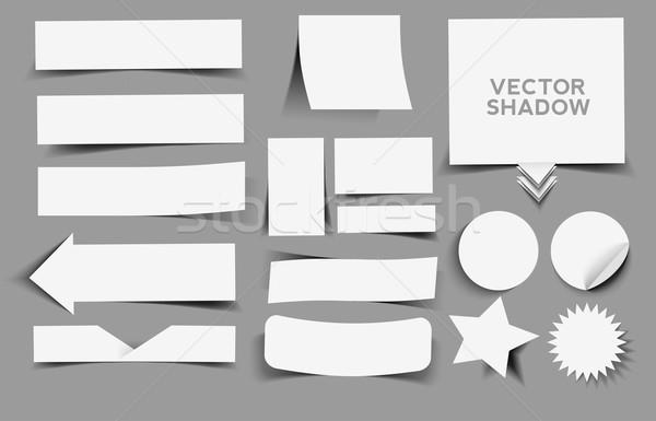 étiquette design ensemble vecteur ombre Photo stock © redshinestudio