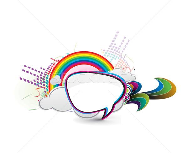 Boodschapper venster icon geïsoleerd regenboog vak Stockfoto © redshinestudio