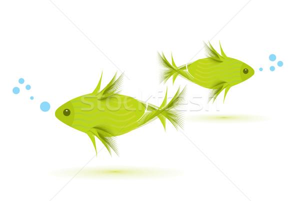 Vector vis geïsoleerd witte natuur ontwerp Stockfoto © redshinestudio