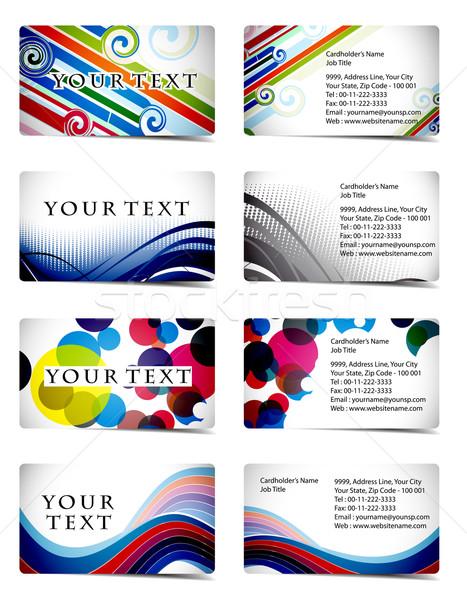 Carte de visite vecteur quatre design Photo stock © redshinestudio