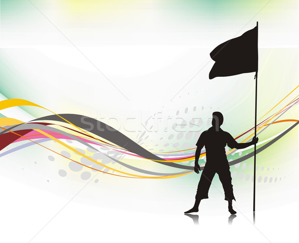 man holding a flag  Stock photo © redshinestudio