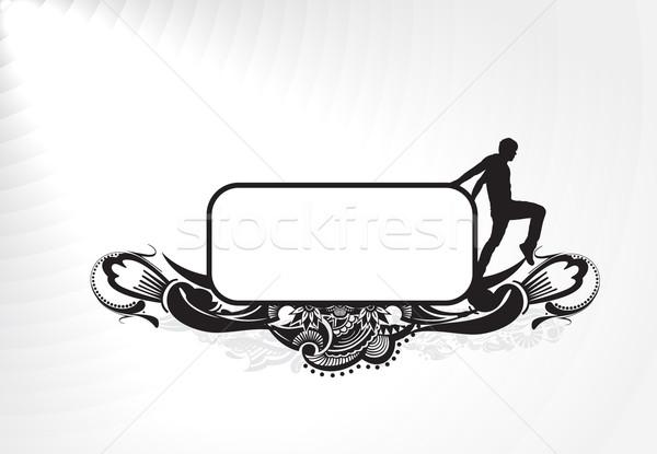 баннер молодым человеком стороны изолированный белый бизнеса Сток-фото © redshinestudio
