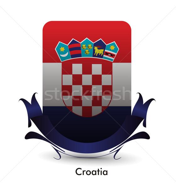 Хорватия флаг стоять баннер дизайна красный Сток-фото © redshinestudio