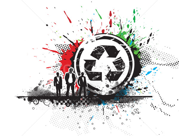 Recycle икона аннотация Гранж вектора Постоянный Сток-фото © redshinestudio