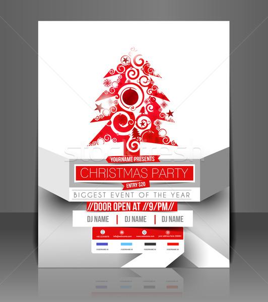 Рождества вечеринка Flyer плакат охватывать шаблон Сток-фото © redshinestudio