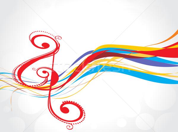 Rainbow musique note résumé vague fête Photo stock © redshinestudio
