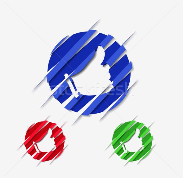 thumb up circle web ico Stock photo © redshinestudio