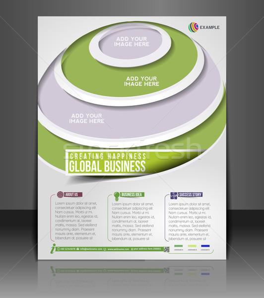 Globális üzlet szórólap poszter sablon internet technológia Stock fotó © redshinestudio