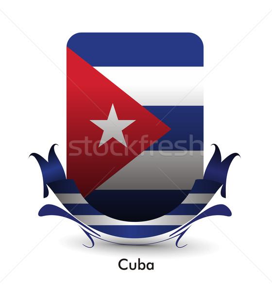 Kuba banderą stoją banner projektu tekstury Zdjęcia stock © redshinestudio