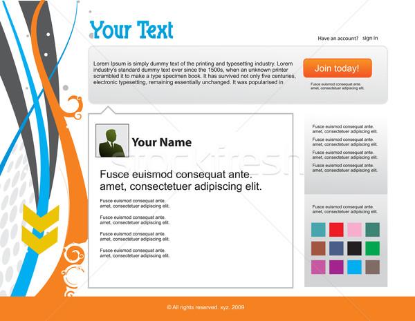 Tjilpen website design sjabloon internet ontwerp Stockfoto © redshinestudio