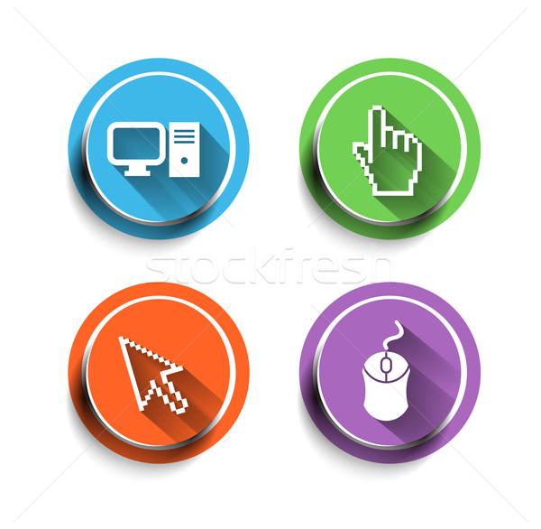電子 コンピュータアイコン セット インターネット ボタン 技術 ストックフォト © redshinestudio