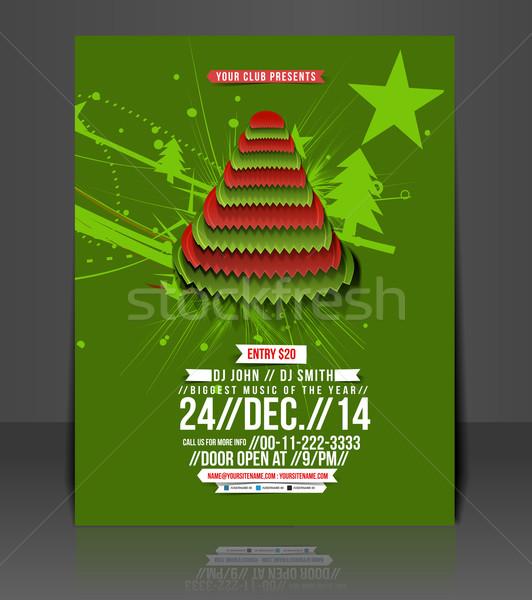 Рождества вечеринка Flyer плакат шаблон дизайна Сток-фото © redshinestudio