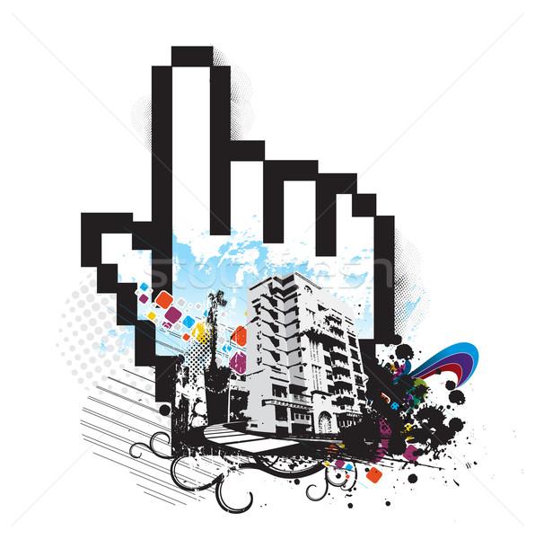 Városi kéz egér szimbólum ház építkezés Stock fotó © redshinestudio