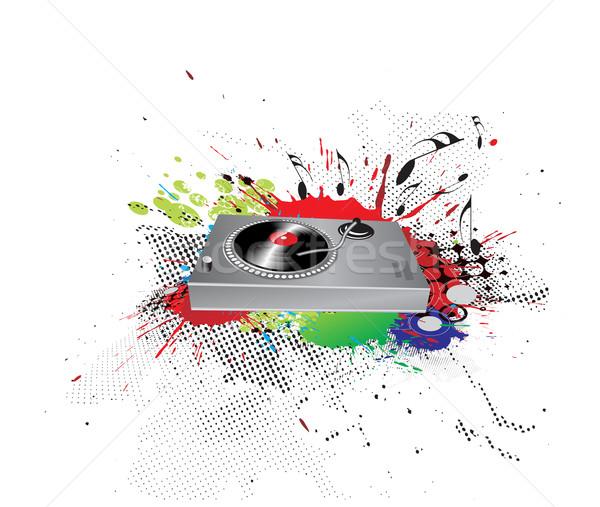 Inkt draaitafel muziek abstract plant geluid Stockfoto © redshinestudio