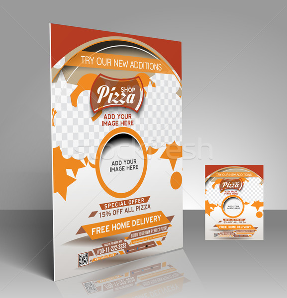 Pizza magasin flyer affiche modèle design Photo stock © redshinestudio