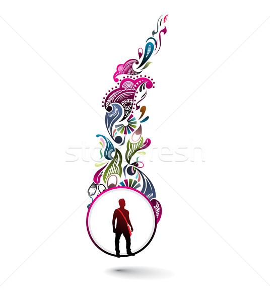 аннотация цветочный дизайна силуэта молодые Постоянный Сток-фото © redshinestudio