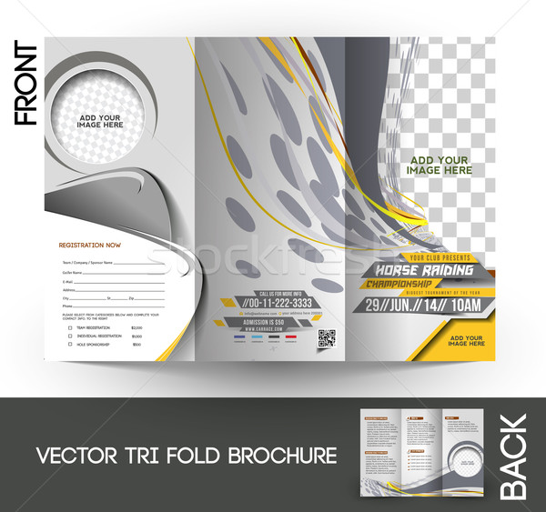 Horse Riding Tri-Fold Brochure Stock photo © redshinestudio