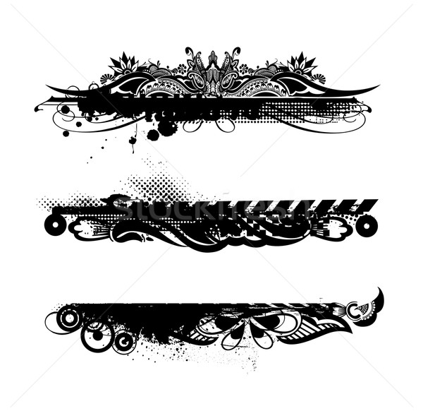 Grunge bannières trois différent lieu fond Photo stock © redshinestudio