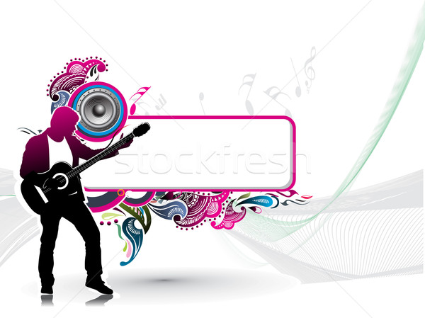 Stock photo: silhouette music men play a guitar