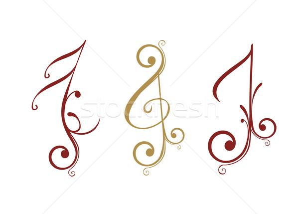 フローラル デザイン 音楽 注記 抽象的な 美 ストックフォト © redshinestudio
