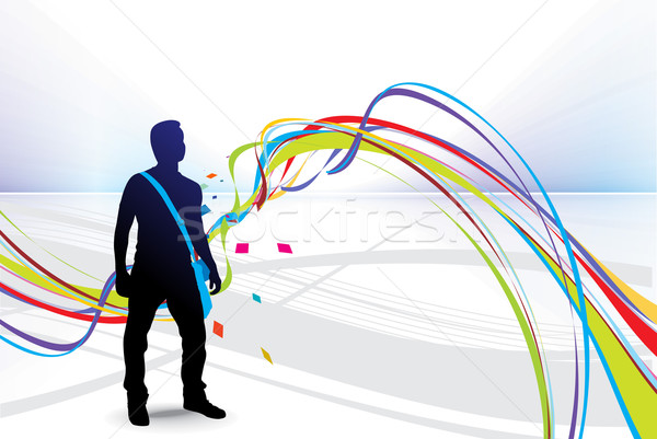illustration young student silhouetted Stock photo © redshinestudio