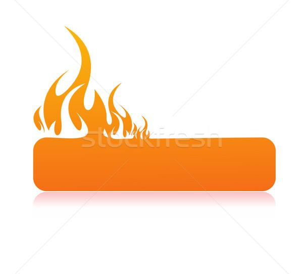 Brennen Flamme Banner Raum Feuer abstrakten Stock foto © redshinestudio