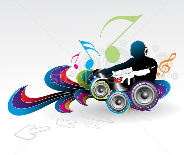 Muziek abstract man spelen nota hand Stockfoto © redshinestudio